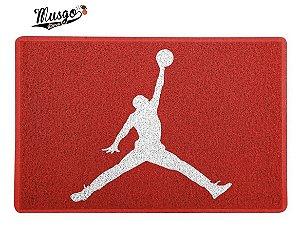 Tapete Capacho Esportivo Basquete Air Jordan Logo Vermelho