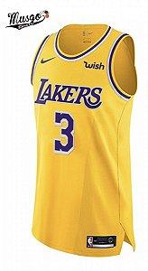 Camiseta Esportiva Regata Basquete NBA Los Angeles Lakers Anthony Davis Número 3 Amarela