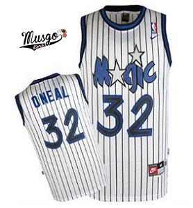 Camiseta Esportiva Regata Basquete NBA Orlando Magic Shaq Oneal Número 32 Branca Listrada