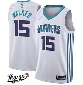 Camiseta Regata Esportiva Basquete NBA Charlotte Hornets Kemba Walker Numero 15 Branca