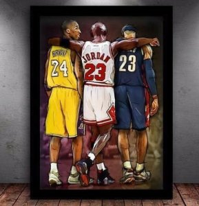 Quadro Esportivo Lendas do Basquete  Kobe Bryant, Michael Jordan e Lebron James