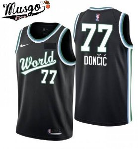 Camiseta Esportiva Regata Basquete NBA All Star Game 2019 Luca Doncic Numero 77 Time Mundo Preta