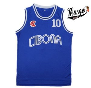 Camiseta Esportiva Regata Basquete Cibona Drazen Petrovic Numero 10 Azul