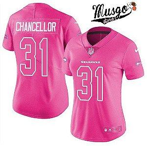 Camisa Esportiva Futebol Americano NFL Seattle SeaHawks Kan Chancellor Numero 31 Rosa