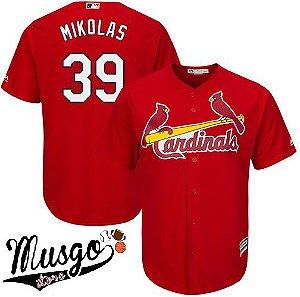 Camisa Esportiva Baseball MLB St. Louis Cardinals Miles Mikolas Numero 39 Vermelha