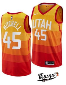 Camiseta Esportiva Regata Basquete NBA Utah Jazz Donovan Mitchell Numero 45 City Edition LAranja