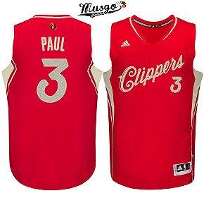 Camiseta Esportiva Regata Basquete NBA Los Angeles Clippers Cris Paul Numero 3 Edicao de Natal