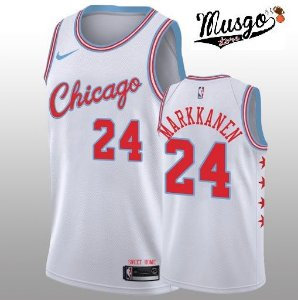 Camiseta Esportiva Regata Basquete NBA Chicago Bulls Lauren Markkanen Numero 24 City Edition Branca