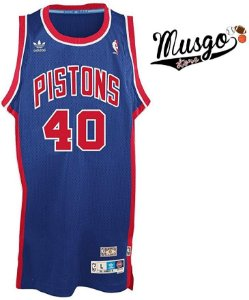 Camiseta Esporte Regata Basquete NBA Detroit Pistons Bill Laimbeer Número 40 Azul