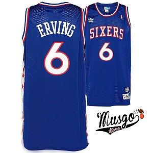 Camiseta Esporte Regata Basquete NBA Philadelphia 76ers Julius Erving Numero 6 Azul