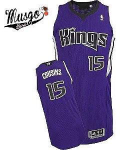 Camiseta Esporte Regata Basquete NBA Sacramento KIngs Demarcus Cousins Numero 15 Roxa