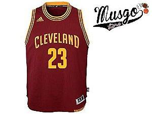 Camiseta Esporte Regata Basquete NBA Cleveland Cavaliers Lebron James Número 23 Vinho