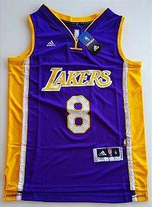Camiseta Esporte Regata NBA Los Angeles Lakers Kobe Bryant Número 8 Roxa e Amarela