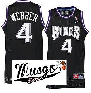 Camiseta Regata Esporte Basquete NBA Sacramento Kings Cris Webber Número 4 Preta