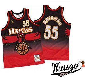 Camiseta Esporte Regata Basquete NBA Atlanta Hawks Dikembe Mutombo Número 55 Preta e Vermelha