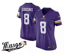 Camisa Esporte Futebol Americano Feminina NFL Minnessota Vikings Kirk Cousins Número 8 Roxa