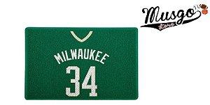Tapete Capacho Esporte Basquete NBA MIlwaukee Bucks Giannis Antetokounmpo Número 34 Verde