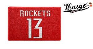 Tapete Capacho Esporte Basquete NBA Houston Rockets James Hardem Número 13 Vermelho