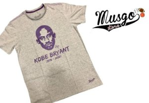 Camisa Musgo Esporte Basquete Los Angeles Kobe Bryant RIP Cinza Claro
