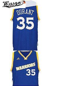 Camiseta Regata Esporte Basquete NBA Golden State Warriors Kevin Durant Número 35 Azul Vintage
