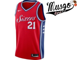 Camiseta Regata Esporte Basquete NBA Philadelphia 76ers Joel Embiid Número 21 Vermelha