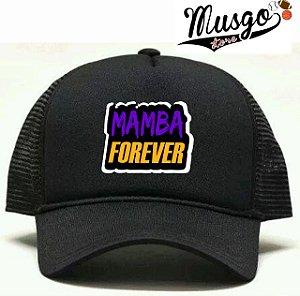 Boné Esporte Basquete Kobe Bryant Mamba Forever Preto Trucker