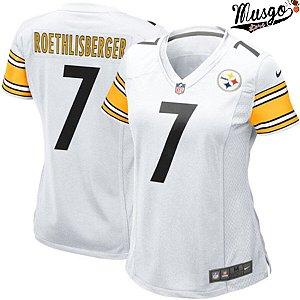 Camisa Esporte Futebol Americano Feminina NFL Pittsburgh Steelers Big Ben Roethlisberger Número 7 Branca