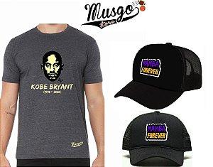 Combo Camisa Musgo Store Kobe Bryant RIP Grafite + Bone Kobe Bryant Mamba Forever Preto