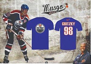 """Camisa Casual Musgo Store NHL Hockey Edmonton Oilers Série Todo Mundo Odeia O Chris """"Gritzky"""" Número 98 Azul"""