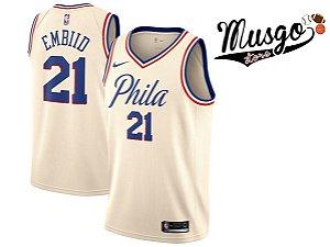 Camiseta Regata Esporte Basquete NBA Philadelphia 76ers Joel Embiid Número 21 Branca