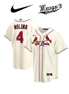 Camisa Nike Esporte Basebal MLB St. Louis Cardinals Yager Molina Número 4 Bege