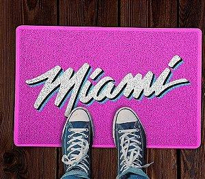 Tapete Capacho Esportivo Basquete NBA Miami Heat Vice Rosa