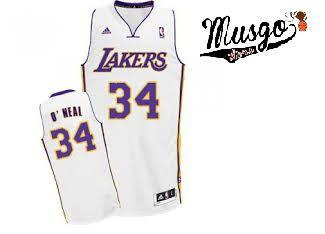 Camiseta Esporte Regata Basquete NBA Los Angeles Lakers Shaq O´neal Número 34 Branca