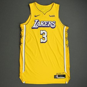 Camiseta Regata Basquete NBA Los Angeles Lakers Anthony Davis Número 3 Amarela City Edition