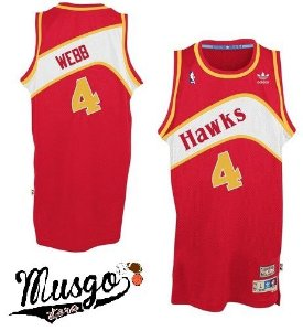 Camiseta Regata Esporte Basquete NBA Atlanta Hawks Spud Webb Número 4 Vermelha