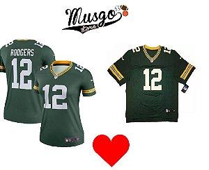 Combo Dia dos Namorados Esporte Futebol Americano NFL Green Bay Packers Aron Rodgers Número 12 Verde