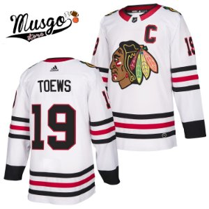 Camisa Esporte Hockey NHL Chicago BlackHawks Jonathan Toews Número 19 Branca