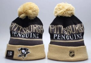Gorro Esporte Hockey NHL Pittsburgh Penguins Preto e Dourado