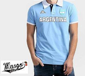 Camisa Casual Polo Rugby Seleção Argentina Azul