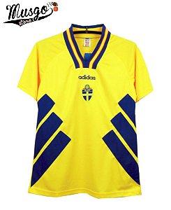 Camisa Esporte Futebol Seleção Suécia Copa do Mundo 1994 Henrik Larsson Número 7 Amarela