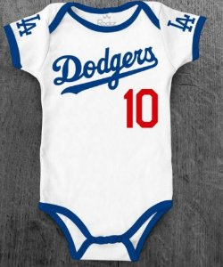 Body Infantil Baseball MLB Los Angeles Dodgers Número 10 Branco