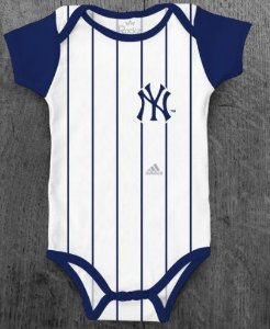Body Infantil Baseball MLB New York Yankees Número 15  Branco Listrado