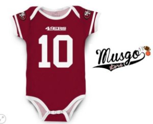 Body Infantil Futebol Americano NFL San Francisco 49ers  Numero 10 Vermelho - Personalize