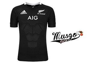 Camisa Esporte Rugby Seleção Nova Zelândia All Blacks Preta