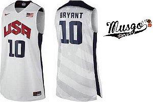 Camisa Regata Esporte Basquete Seleção Americana Olimpíadas Londres 2012 Kobe Bryant Número 10 Branca