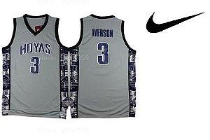 Camiseta Regata Esporte Basquete Universitário NCAA Georgetown Hoyas Allen Iverson Número 3 Cinza