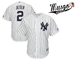 Camisa Esporte Baseball MLB New York Yankees Derek Jeter número 2 Branca Listrada