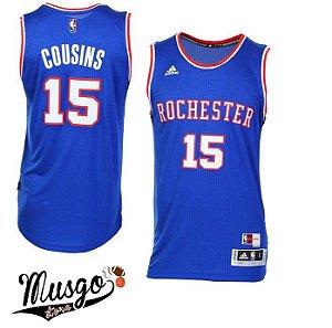Camiseta Adidas Regata Esporte Basquete Rochester Demarcus Cousins número 15 Azul