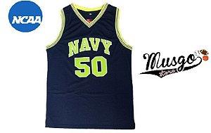 Camiseta Regata Esporte Basquete Universitário NCAA Marinha Navy David Robinson Número 50