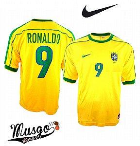 Camisa Nike Esporte Futebol Seleção Brasileira Copa do Mundo 1998 Ronaldo Número 9 Amarela